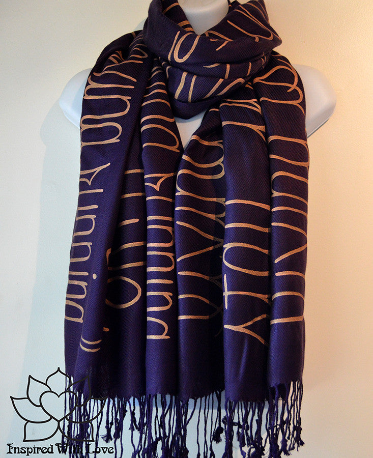 Custom personalized hand-painted pashmina script Eggplant scarf. Completely customizable. Choose your favorite quote, message, phrase. Contain a hidden secret message on the inside and looks like an abstract pattern when worn. Exclusively created by Inspired With Love.
