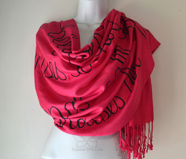 Custom Christian Bible Scripture Verse Script Scarf - Luke 1:45 & Proverbs 31:28 Blessed is she who has believed shawl - Inspired With Love