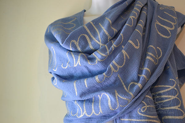 Custom Message 100% Cotton Gauze Coppen Blue Shawl (Made to Order)