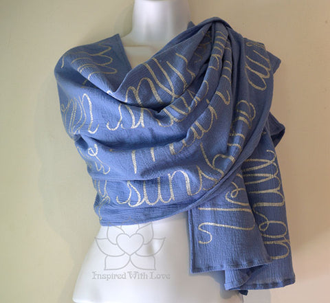Custom Message 100% Cotton Gauze Coppen Blue Scarf (Made to Order)