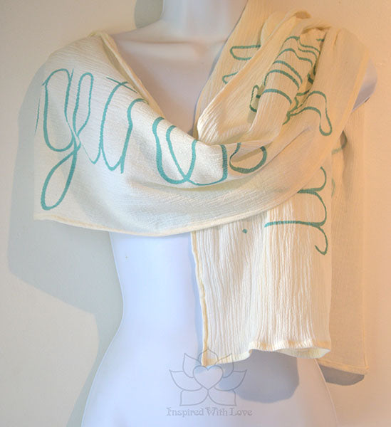 Custom Message 100% Cotton Gauze Ivory / Cream Scarf (Made to Order)