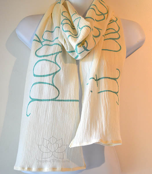 Custom Message 100% Cotton Gauze Ivory / Cream Shawl (Made to Order)