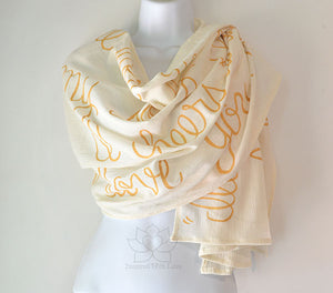 Custom Personalized 100% Cotton Gauze Crinkled Ivory Gold Scarf Shawl, Bridesmaid Proposal, Cotton Anniversary, Mother of Bride, Bridal Vows Wedding Gift - Inspired With Love