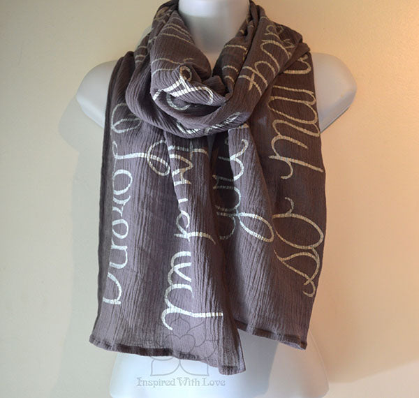 Custom Message 100% Cotton Gauze Dark Gray Shawl (Made to Order)