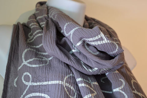 Custom Message 100% Cotton Gauze Dark Gray Scarf (Made to Order)