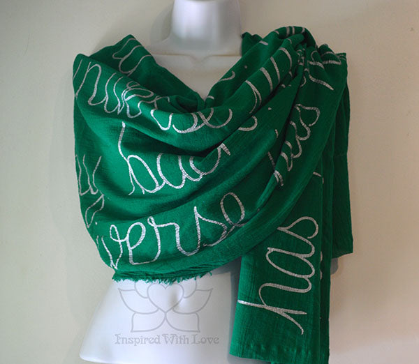 Custom Message 100% Cotton Gauze Flag Green Scarf (Made to Order)