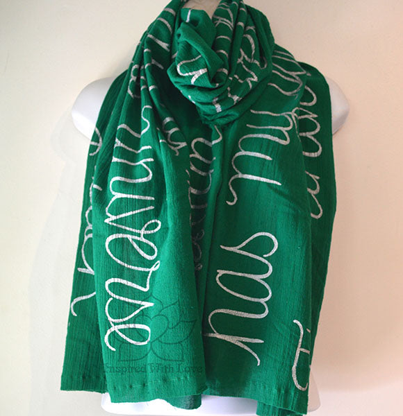 Custom Message 100% Cotton Gauze Flag Green Shawl (Made to Order)