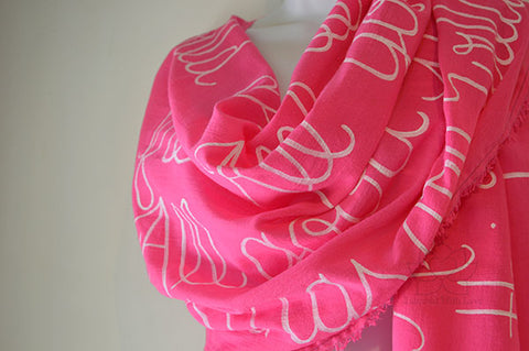 Custom Message 100% Cotton Gauze Fuchsia Shawl (Made to Order)