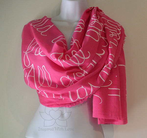 Custom Message 100% Cotton Gauze Fuchsia Scarf (Made to Order)