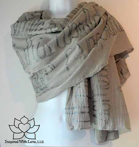 Custom Message 100% Cotton Gauze Ash Gray Script Shawl (Made to Order)