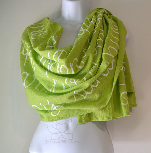 Custom Message 100% Cotton Gauze Lime Green Scarf (Made to Order)