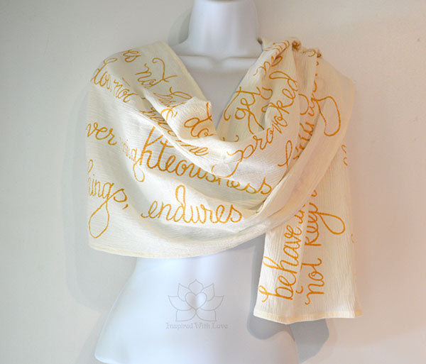 Custom Christian Bible Verse Scripture lightweight summer 100% cotton crinkle gauze scarf gift - 1 Corinthians 13:4-8 Love is patient, Love is kind. Love Never Fails. Prayer Shawl - Inspired With Love