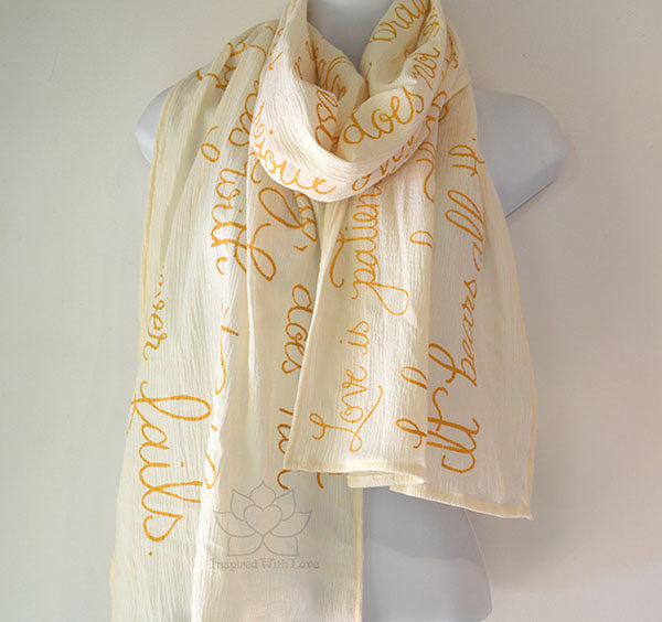 Custom Love is Patient, Love Never Fails 1 Corinthians 13:4-8 Scarf (Made To Order)