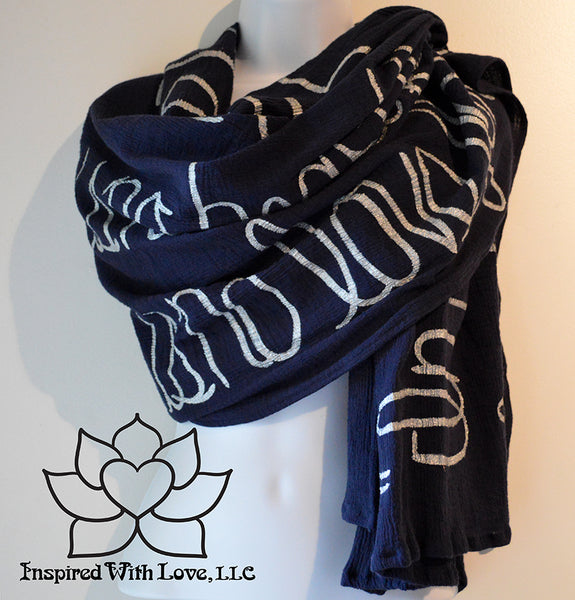Custom Message 100% Cotton Gauze Navy Scarf (Made to Order)