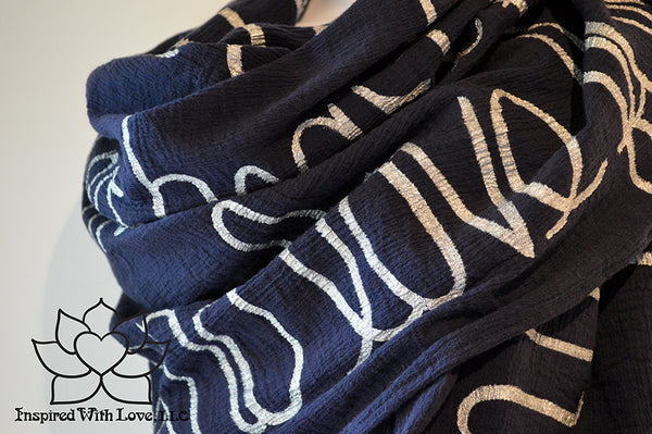 Custom Message 100% Cotton Gauze Navy Shawl (Made to Order)