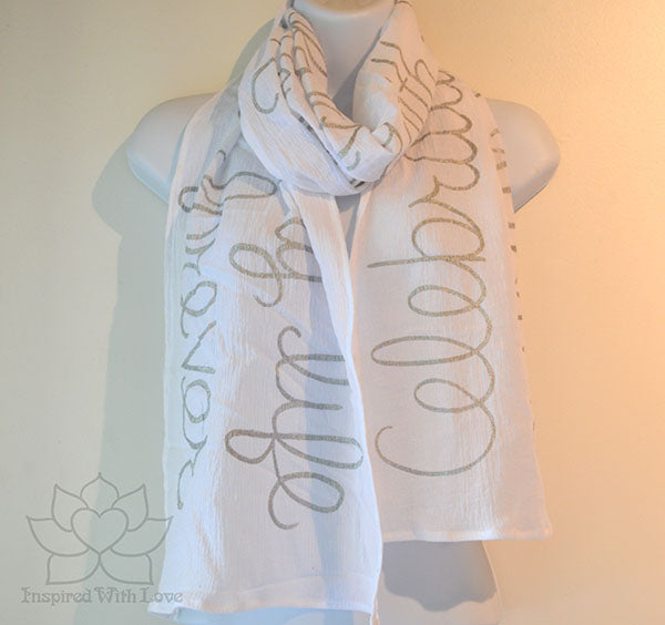 Custom Message 100% Cotton Gauze White Scarf (Made to Order)