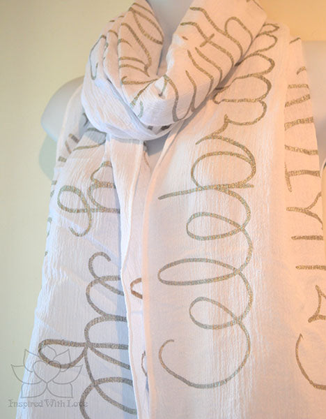 Custom Message 100% Cotton Gauze White Shawl (Made to Order)
