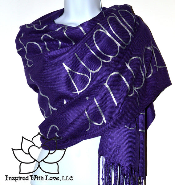 Custom personalized hand-painted pashmina script Grape scarf. Completely customizable. Choose your favorite quote, message, phrase. Contain a hidden secret message on the inside and looks like an abstract pattern when worn. Exclusively created by Inspired With Love.