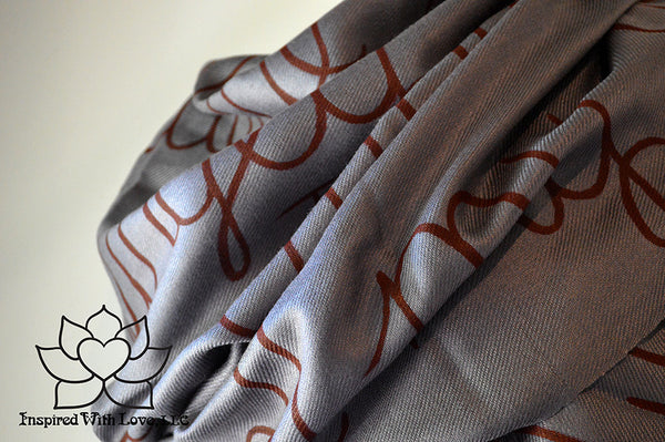 Custom personalized hand-painted pashmina script Dark Gray scarf. Completely customizable. Choose your favorite quote, message, phrase. Contain a hidden secret message on the inside and looks like an abstract pattern when worn. Exclusively created by Inspired With Love.