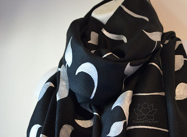 Custom Hand-painted Hebrew Alphabet Script Black Scarf (70% Pashmina / 30% Silk) - Made to Order