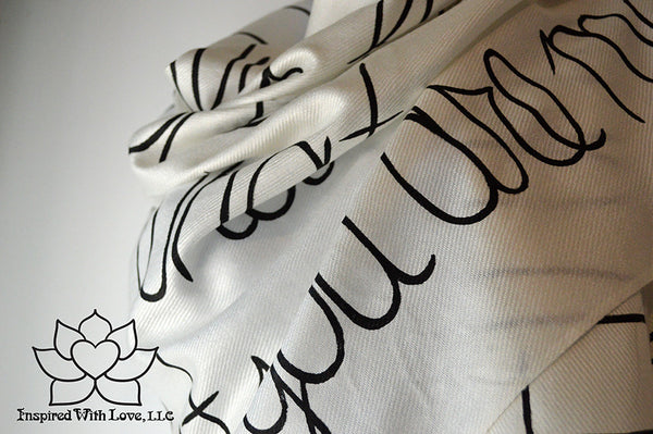 Personalized Hand-painted Pashmina Script White Scarf (Viscose/Acrylic blend) - Made to Order - Inspired With Love - 9