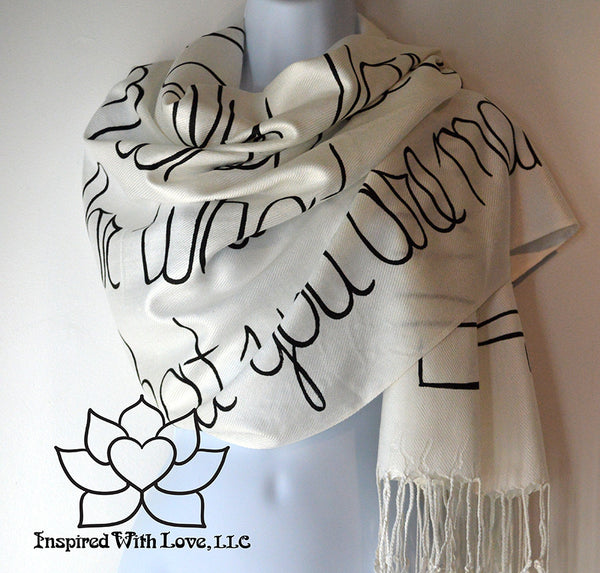 Personalized Hand-painted Pashmina Script White Scarf (Viscose/Acrylic blend) - Made to Order - Inspired With Love - 10