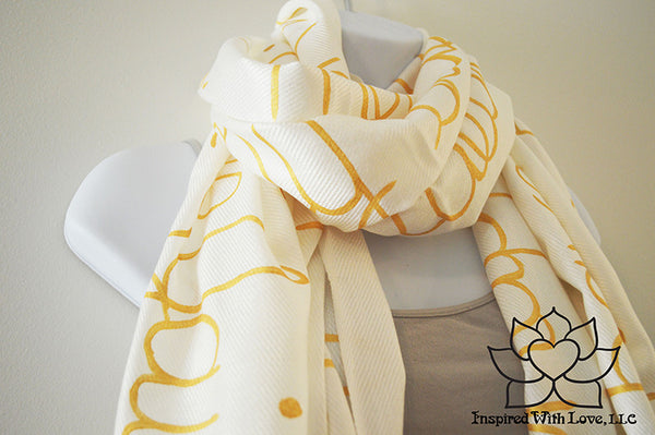 Personalized Hand-painted Pashmina Script White Scarf (Viscose/Acrylic blend) - Made to Order - Inspired With Love - 11