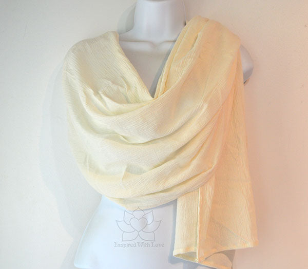 Lightweight Summer 100% Cotton Gauze Ivory / Cream Scarf