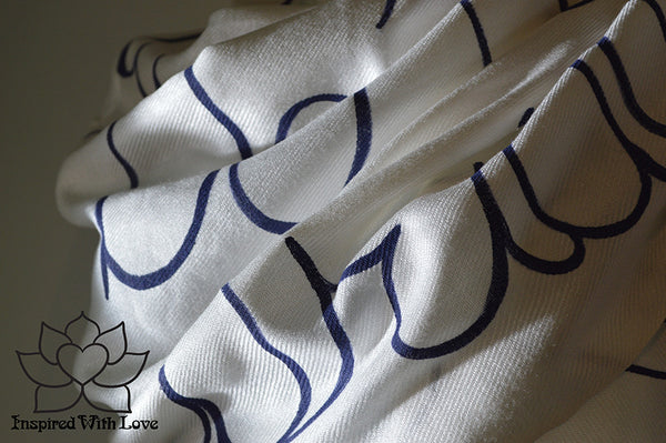 Custom Hand-painted Script Pashmina White Scarf (Viscose/Acrylic blend) - Made to Order