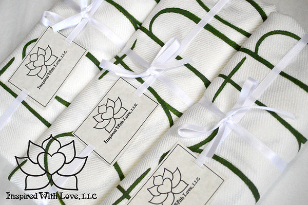 Personalized Hand-painted Pashmina Script White Scarf (Viscose/Acrylic blend) - Made to Order - Inspired With Love - 13