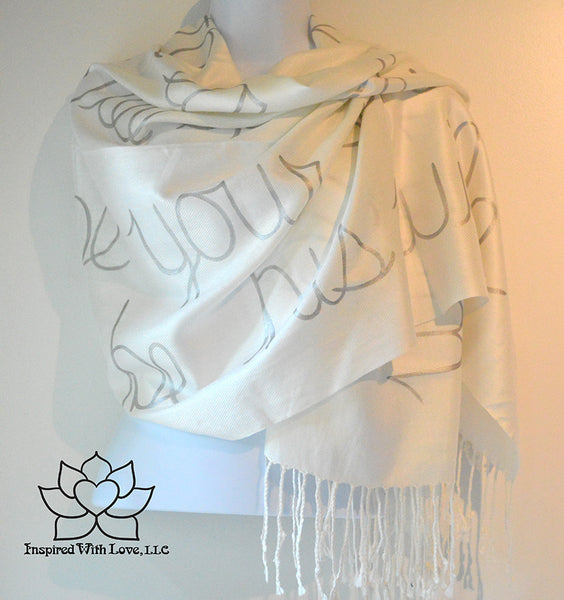 Personalized Hand-painted Pashmina Script White Scarf (Viscose/Acrylic blend) - Made to Order - Inspired With Love - 14