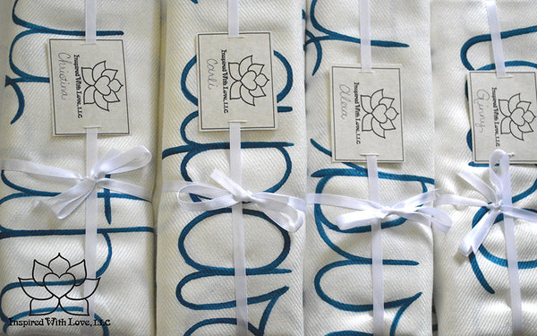 Personalized Hand-painted Pashmina Script White Scarf (Viscose/Acrylic blend) - Made to Order - Inspired With Love - 16