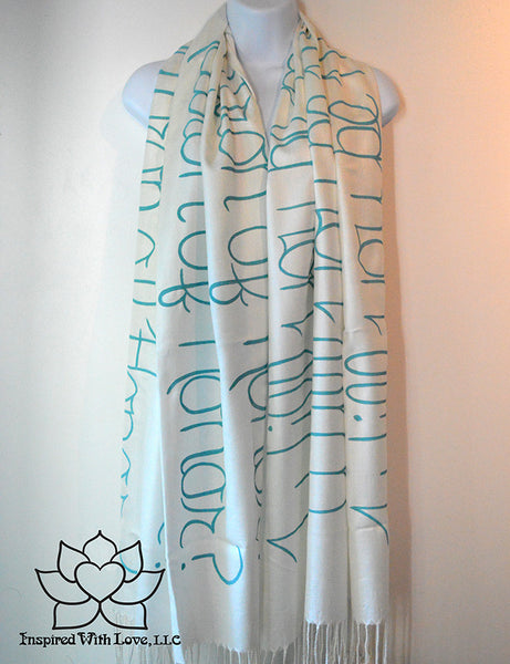 Personalized Hand-painted Pashmina Script White Scarf (Viscose/Acrylic blend) - Made to Order - Inspired With Love - 17