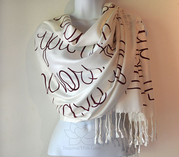 Custom Hand-painted Script Ivory Scarf (Viscose/Acrylic blend) - Made to Order
