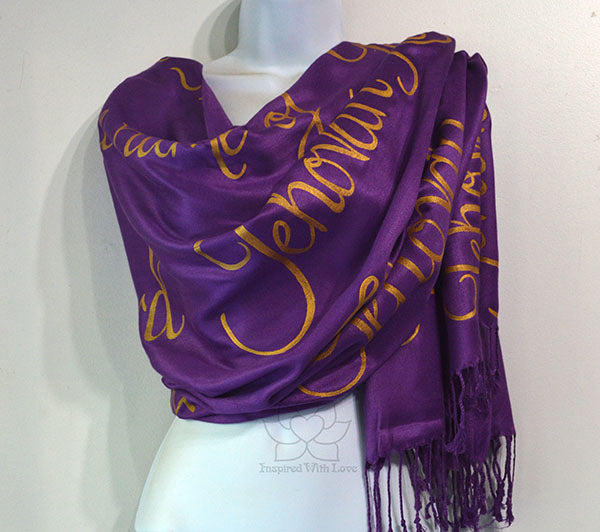 Custom Jehovah Names of God scarf, Christian Bible Verse Scripture Spiritual Prayer shawl - Inspired With Love