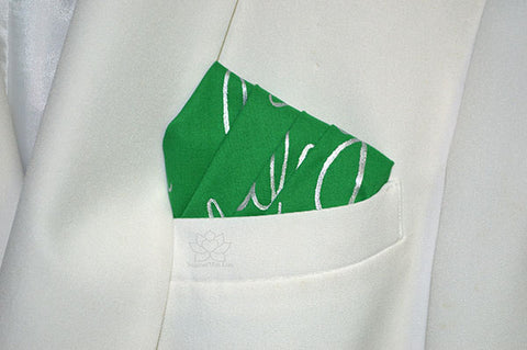 Custom 100% Classic Cotton Hand-painted Script Kelly Green Pocket Square - Made to Order