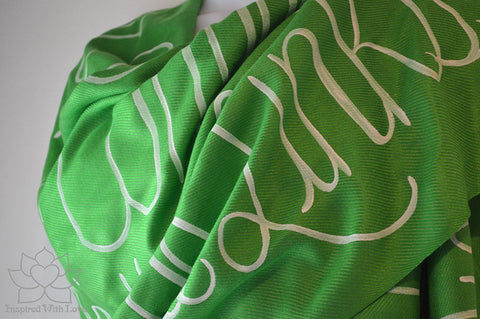 Custom Hand-painted Script Pashmina Kelly Green Scarf (Viscose/Acrylic blend) - Made to Order