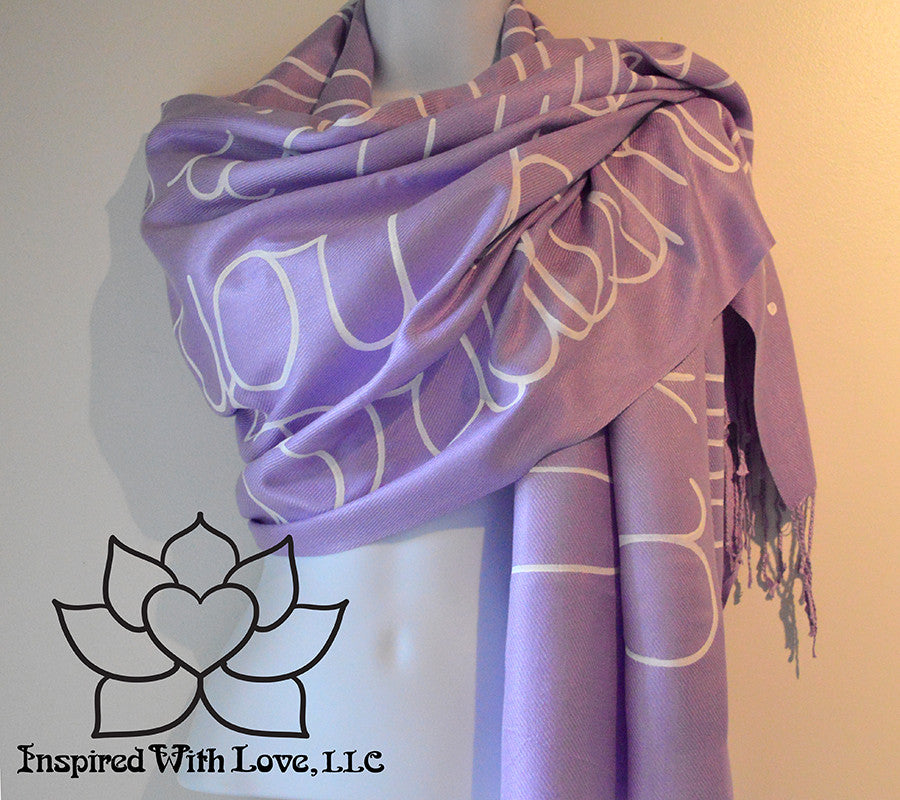 Custom personalized hand-painted pashmina script Lavender scarf. Completely customizable. Choose your favorite quote, message, phrase. Contain a hidden secret message on the inside and looks like an abstract pattern when worn. Exclusively created by Inspired With Love.