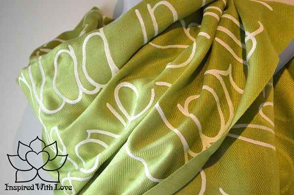 Custom personalized hand-painted pashmina script Lime Green scarf. Completely customizable. Choose your favorite quote, message, phrase. Contain a hidden secret message on the inside and looks like an abstract pattern when worn. Exclusively created by Inspired With Love.