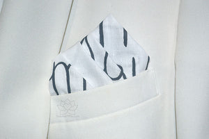 Custom 100% Linen Hand-painted Script White Pocket Square - Made to Order