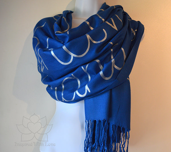 Lokah Samastah Sukhino Bhavantu OM Shanti Pashmina Scarf, Yoga Meditation Shawl, Mantra Shawl, Yoga Teacher Gifts - Inspired With Love