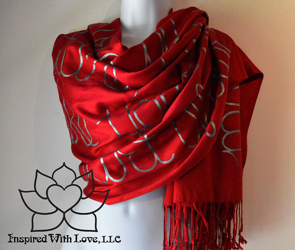 Custom personalized hand-painted pashmina script Maroon scarf. Completely customizable. Choose your favorite quote, message, phrase. Contain a hidden secret message on the inside and looks like an abstract pattern when worn. Exclusively created by Inspired With Love.