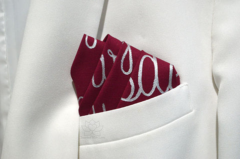Custom 100% Classic Cotton Hand-painted Script Maroon Pocket Square - Made to Order