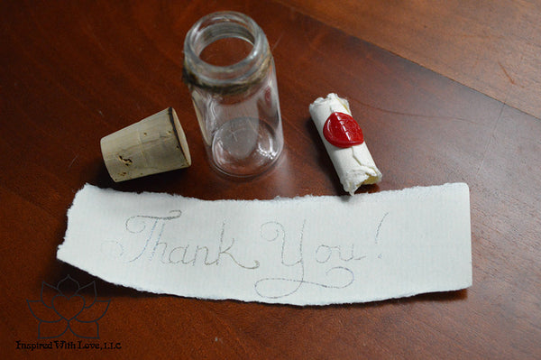 Personalized Calligraphy Message In A Mini Bottle (With Mini Crystal Stone) - Inspired With Love - 11