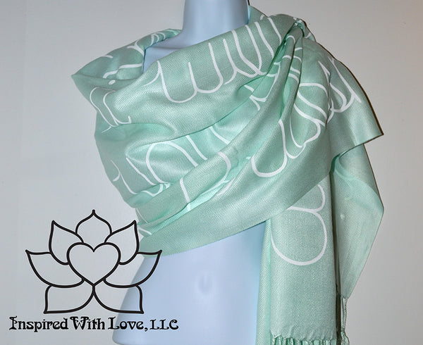 Custom personalized hand-painted pashmina script Mint scarf. Completely customizable. Choose your favorite quote, message, phrase. Contain a hidden secret message on the inside and looks like an abstract pattern when worn. Exclusively created by Inspired With Love.