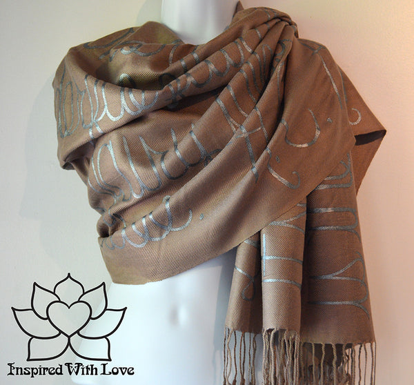 Custom personalized hand-painted pashmina script Mocha scarf. Completely customizable. Choose your favorite quote, message, phrase. Contain a hidden secret message on the inside and looks like an abstract pattern when worn. Exclusively created by Inspired With Love.