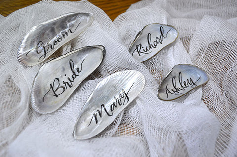 Custom Personalized Calligraphy Mussel Shells Name Place Cards, Rustic Beach Nautical Destination Travel Wedding decor favors, Corporate Events - Inspired With Love