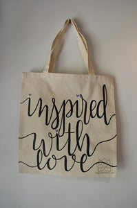 Inspired With Love 100% cotton natural tote bag, bridesmaid gift, wedding favor, women's gift, everyday accessory