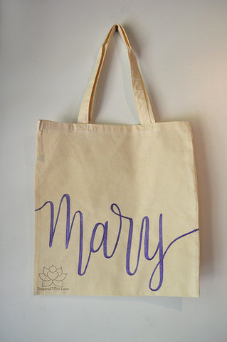 Personalized name cotton tote bag - Inspired With Love - Bridesmaid gift, Wedding favor, Gift for her