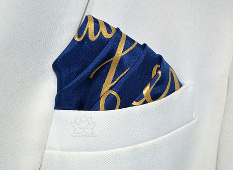 Custom 100% Silk Hand-painted Message Script Navy Pocket Square - Made to Order